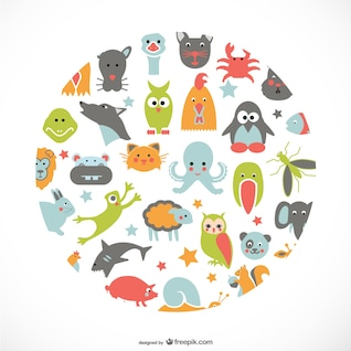 Animals flat icons design