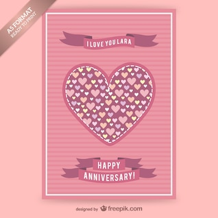 Anniversary card with hearts