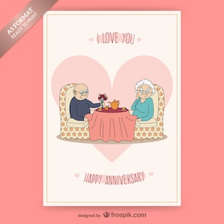 Anniversary card with senior couple