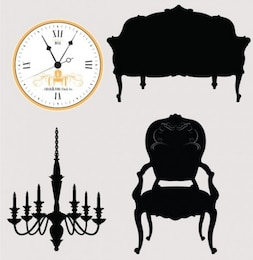 Antique furniture and chandelier silhouettes