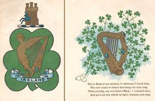 antique ireland harp postcard