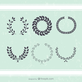Antique wreath leaves decoration vectors