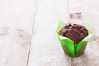 Appetizing chocolate muffin