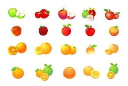 apple and orange vector graphic set