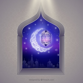 Arabic window with crescent moon