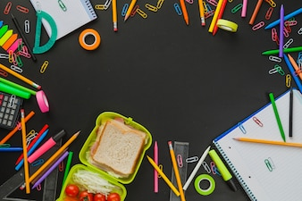 Arrangement with school supplies and snack