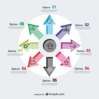 Arrows pointing vector infographic