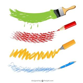 Art instruments vector set