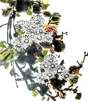 芸術的な描画鳥の花の絵の花
