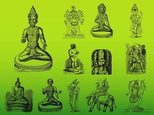 Asia Hindu gods vector silhouettes