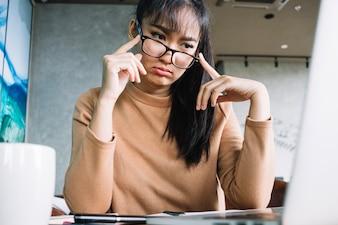 Asian girl with eyeglasses