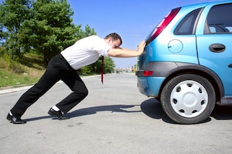 Ask man push road wait