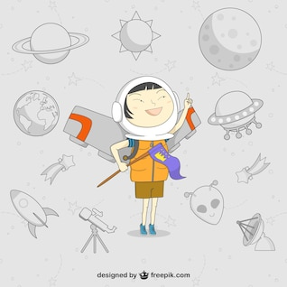 Astronaut kid cartoon vector