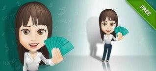Attractive Businesswoman with bills