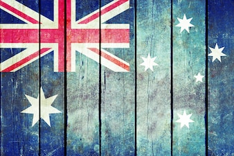 Australia wooden grunge flag.