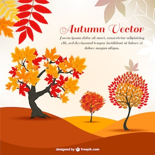 autumn cartoon trees in the background pattern   vector