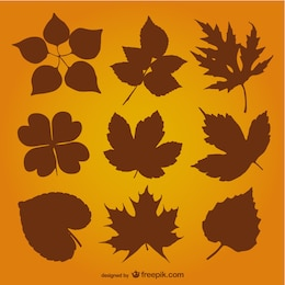 Autumn leaves silhouette vector