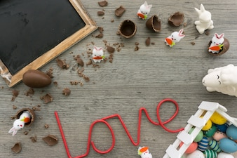 Awesome easter composition with word love