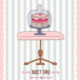 B-day cake vector retro card