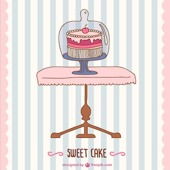 B-day cake vector retro card