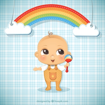 Baby boy illustration and a rainbow