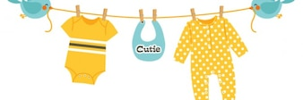 baby clothes hanging on rope sustained by birds