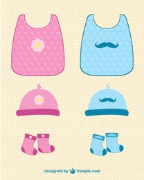 Baby clothes vector set