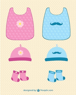 Baby clothes vector set