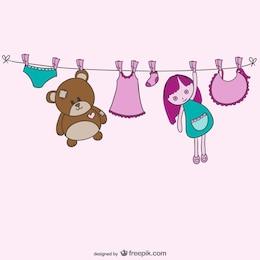 Baby clothesline vector