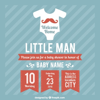Baby shower card template for boy