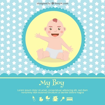 Baby shower card with a baby illustration