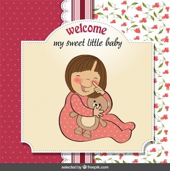 Baby shower card with a girl hugging a teddy bear