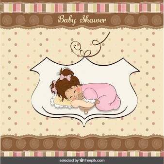 Baby shower card with a lovely sleepy baby