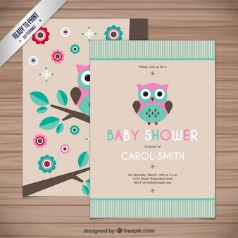 Baby shower card with a owl