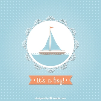 Baby shower card with a sailboat
