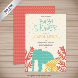 Baby shower card with animals