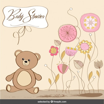 Baby shower card with bear in pastel colors