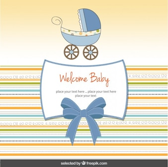 Baby shower card with cute baby stroller