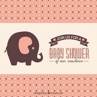 Baby shower card with cute elephant