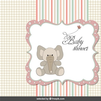 Baby shower card with elephant in pastel colors
