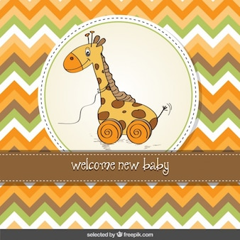 Baby shower card with giraffe toy and zig zag stripe background