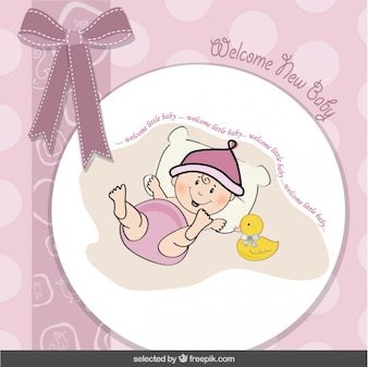 Baby shower card with loop and funny baby