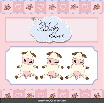 Baby shower card with lovely cows