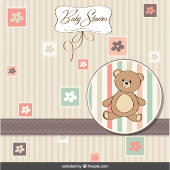 Baby shower card with teddy bear and flowers
