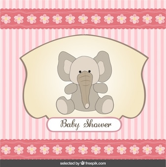 Baby shower card with teddy elephant and striped background