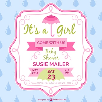 Baby shower girl card template design