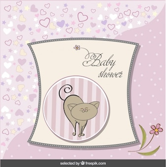 Baby shower pink card with cute cat
