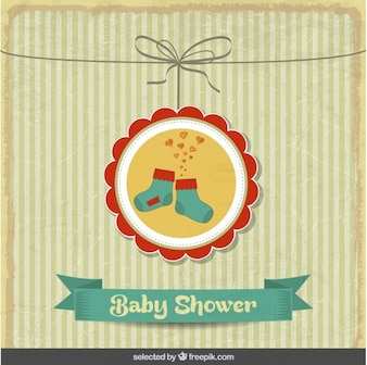Baby shower vintage card with cute socks