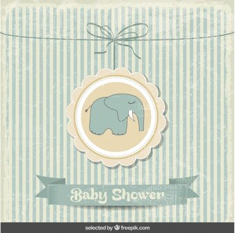 Baby shower vintage card with elephant