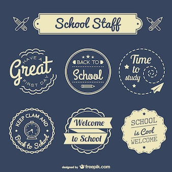 Back to school badges set